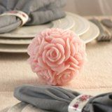 """Wedding / Bridal Shower Pink Floral Round Candle 4""""x 3.75"""" (Kitchen)By JEM Stores"""
