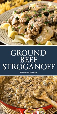 Ground Beef Stroganoff has all of the delicious flavors of the classic recipe – but it's quicker, easier and budget-friendly! You are in the right place about Ground Beef curry Here we offer you the m Beef Dishes, Pasta Dishes, Food Dishes, Main Dishes, Potato Dishes, Rice Dishes, Food Food, Ground Beef Stroganoff, Hamburger Stroganoff