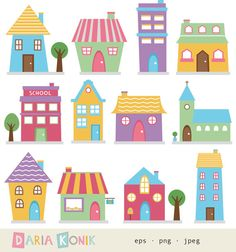 Houses Clip Art Set- cute houses, neighborhood, trees, church, bakery, buildings, school, colorful, instant download, vector, eps, png, jpeg