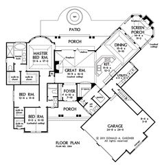 First Floor Plan of The Champlain - House Plan Number 1284...lose the dutch hips...so close to perfect, it hurts!