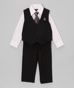 Another great find on #zulily! Black & Pink Four-Piece Vest Set - Infant & Toddler by Tazio #zulilyfinds