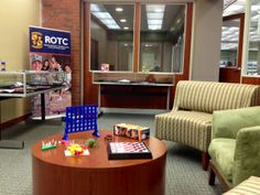 """""""Stress Relief Center in Dacus Library"""" -- Great idea at Winthrop University (Rock Hill, SC) for exam week: """"Until exams are over, the Stress Relief Center will be equipped with some comfy chairs, refreshments and activities to take your mind off exams. Activities set up include: puzzles, coloring books/sheets and crayons, and small games like Jenga, Toss Across and Checkers. Each evening after 5:00 PM there will be coffee, tea and hot chocolate provided by the library until it runs out."""""""