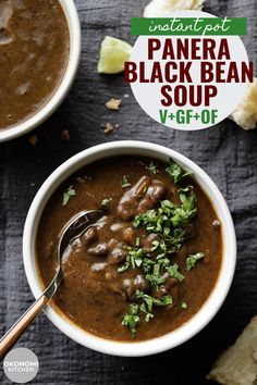 This Black Bean Soup tastes just like the one from Panera Bread- creamy & flavourful with bits of whole black beans. A easy and healthy recipe made in the instant pot with just 10 ingredients. Vegetarian Black Bean Soup, Easy Black Bean Soup, Whole Food Recipes, Cooking Recipes, Vegan Recipes, Vegan Black Bean Recipes, Cooking Tips, Quinoa, Chickpea Salad