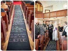Unique entrance to wedding, their vows written