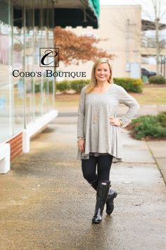 Look how cute but simple this tunic dress is! Dress it up with some of our new Love. A.O. jewelry and you are ready to go!  Call 601.591.4111 to order! We are open until 6pm!