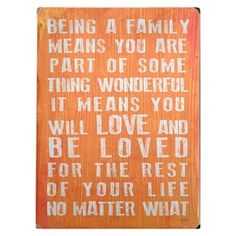 Love and be loved no matter what is what family is about. Treated the way you ought to be treated. Loved no matter what kind of mistakes you make. Right by your side thru everything. I will never miss any part of your life. Nothing will ever change that. Families that stick together, stay together.  I love my family!