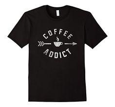 Men's Coffee Addict Vintage Coffee Lover T-Shirt 3XL Blac...