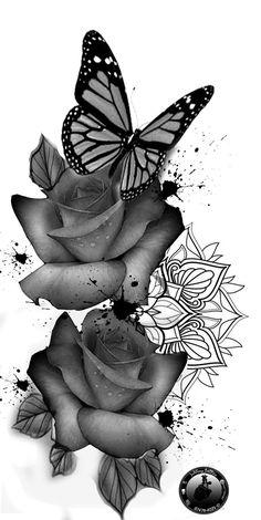 Butterfly tattoo - Rose tattoos - Tattoos for women flowers - Tattoos - Mandala tattoo - Flowe Rose And Butterfly Tattoo, Butterfly Tattoos For Women, Butterfly Tattoo Designs, Butterfly Drawing, Butterfly Design, Rosen Tattoo Arm, Rosen Tattoos, Arrow Tattoos, New Tattoos