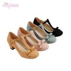 2013 spring vintage bow strap thick heel single shoes Large women's plus size shoes 40 - 43 wedges US $35.02