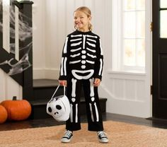 Skeleton Costume | Pottery Barn Kids; DIY w/ white fabric paint on blk clothes
