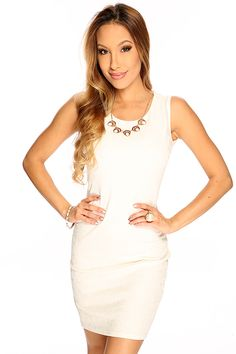 White Sleeveless Cute Cocktail Party Dress