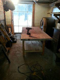 Old barn door for workbench top