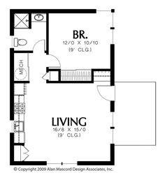 Main Floor Plan of Mascord Plan 1165 - The Squirrel