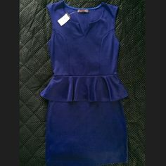 Body Central Peplum Blue Dress Size M (NEW W/ TAG) Body Central peplum dress is a size M and color is blue. Material of dress is 50% polyester, 45% rayon, and 5% spandex. Material of the dress makes it flattering and fitting for a variety of different body types. Dress has never been worn-- New w/ tags. (Shown in photos). Dress goes a little above the knees. Body Central Dresses