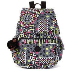 Kipling-Ravier-Backpack-Knapsack-Bag-School-Girl-Women-Travel-Books-Bus-Pattern