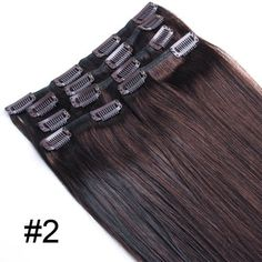 """Yesurprise 20"""" #2 Remy 100% Real 7pcs 70g Straight Human Hair Clips In Hair Extensions by Yesurprise. $35.00. Weft / Extension Soft and Thick With clip. Better Proportion and Most of Hair are Similar Length. 20 inch Dark Brown. Weight: 7pcs 70g approx.. 100% Human hair. Package Includes: 7pcs 70g: 1 x 4 clips attached 2 x 3 clips attached 2 x 2 clips attached 2 x 1 clips attached How to Care For Human Hair Extensions Step 1 Be gentle. One of the most important thing..."""