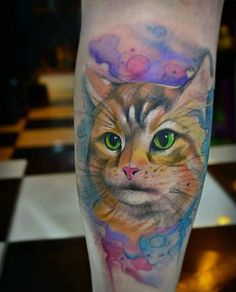 Green-eyed Cat Watercolor Tattoo by Chico