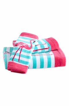 Destinations Pink Flamingo Bath Towel, Hand Towel and Washcloth Set