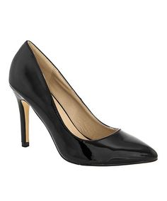 Another great find on #zulily! Black Patent Almond-Toe Pump #zulilyfinds