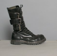 80s Black GRIPFAST BOOTS / Triple Buckle Tall Leather Boots, 8.5 - 125.00 - Etsy.com - luckyvintageseattle