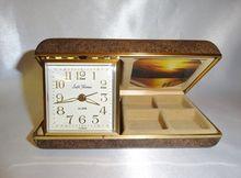 Vintage Seth Thomas Travel Alarm Clock Jewelry Box Picture Frame