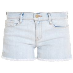 FRAME DENIM Le Cutoff Frayed Shorts ($223) ❤ liked on Polyvore featuring shorts, bottoms, pants, denim, denim cut-off shorts, cuffed shorts, frame denim, cuffed denim shorts and denim shorts