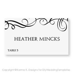 17 best wedding stationery images on pinterest place card template place card template download instantly editable text elegant swirls black microsoft word format avery 5302 tent compatible maxwellsz
