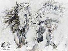 Reproductions giclées sur toile - giclée prints on canvas — Elise Genest Horse Drawings, Animal Drawings, Art Drawings, Painted Horses, Horse Pictures, Art Pictures, Arte Equina, L'art Du Portrait, Horse Sketch