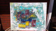 Acrylbild / Leinwand  CHAOS  Gr. 40 x 50 cm 100% HANDARBEIT