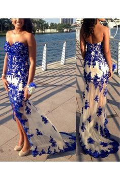 Long Blue Sweetheart Lace Appliques Prom Formal Evening Party Dresses 3021367