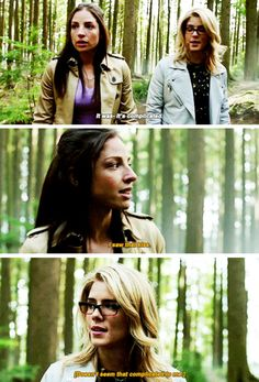 """""""I saw that kiss. Doesn't seem that complicated to me"""" - Samantha and Felicity #Arrow"""