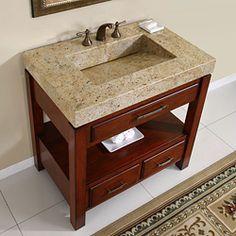 Silkroad Exclusive Kashmir Gold Granite Top Single Stone Sink Bathroom Vanity