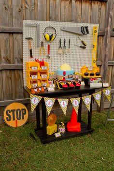 """Photo 4 of Construction / Birthday """"Construction Party"""" Construction Birthday Parties, 4th Birthday Parties, 3rd Birthday, Birthday Ideas, Birthday Banners, Construction Party Decorations, Kids Construction, Tool Party, Festa Party"""