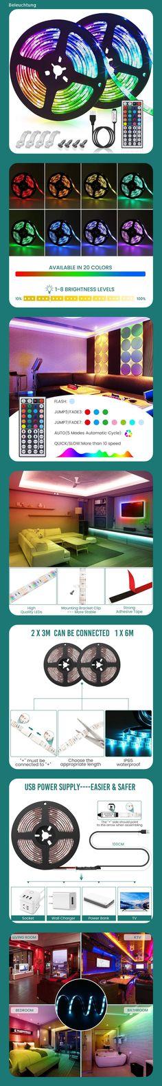 Beleuchtung · GLIME LED Streifen 6M Led Stripes RGB 5050SMD LED Bänder  Lichtband Mit 44 Tasten Fernbedienung 6