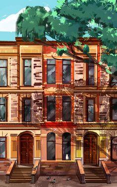 architecture study 2 by eltowergo on DeviantArt Animation Background, House Art, Pretty Little, Backgrounds, Study, Deviantart, Mansions, Architecture, House Styles
