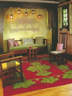 Great Arts & Crafts Room - Crab Tree Farm, just north of the Illinois village of Lake Bluff, is the ideal setting for the Arts and Crafts carpet collection of John H. Bryan.