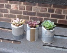 Marbleized Cement with Matte Gold Stripe  Dimensions: 4.5W at bottom, 6W at top, 3T, 2.5D  One of a kind marbleized design in each pot! This medium sized planter is great for the office or home with its sophisticated look. ***All dimensions are approximate, and may vary slightly***  ***Succulents not included***  ***Some pieces are made to order. Due to the nature of handmade products, each item will be unique and one of a kind! Please note that textures, colors and dimensions may vary…