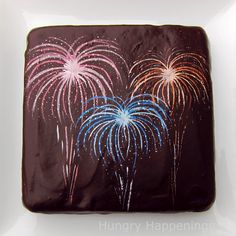 I just might make this brownie decorated with Fireworks for my friend's New Year's eve party.