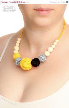 collier d'allaitement nursing collier déclaration bijoux - gris noir jaune
