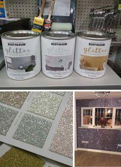 Glitter bedroom Glitter paint for walls Glitter room Room decor Room diy Gl Glitter Bedroom, Glitter Paint For Walls, Rustoleum Glitter Paint Wall, Chalk Paint, Rust Oleum Glitter, Bathroom Accent Wall, Accent Walls, Baby Bathroom, Kids Room Paint