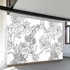 Black and White Floral Pattern Wall Mural Wall Painting Decor, Mural Wall Art, Vinyl Wall Art, Painting Walls, Motif Floral, Floral Wall, Flower Mural, Wall Drawing, Marble Wall