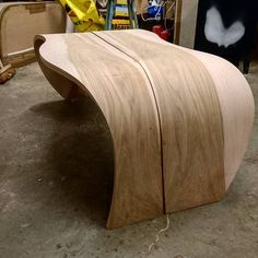 Curvy coffee table. Pushing the bending of wood to its limit