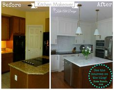 Love the Before and After Pictures of this Kitchen - B.M. White Dove on cabinets, removed bulkhead and to get higher cabinets, Mont Blanc marble on island, perimeter countertop is leathered black granite (doesn't show fingerprints), GE profile convection oven & GE Advantium oven/convection microwave combo, Aspen range Top Knobs hardware in soft bronze, walls are B.M. Winds Breath, Goodman Pendants by Visual Comfort pendants, backsplash is Thasos marble 2x4 beveled