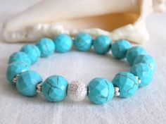 Stretchy Turquoise Howlite Beaded Bracelet by CloudsOfFantasy, $15.00