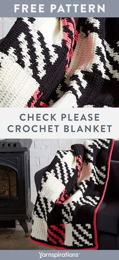 Free crochet pattern using Bernat Super Value yarn. Free Check Please Crochet Blanket pattern. Brighten-up your home with this graphic blanket or it makes a great gift if you craft it in your recipient's favorite shades. Crochet Afghans, Easy Crochet Blanket, Blanket Yarn, Crochet Blanket Patterns, Crochet Yarn, Free Crochet, Crochet Blankets, Crochet Shawl, Baby Blankets
