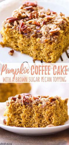 This easy pumpkin coffee cake recipe is full of sweet spices, rich pumpkin flavor, and topped with a pecan brown sugar crumb topping! This sweet fall breakfast treat is perfect when paired with a cup of coffee! Pecan Pumpkin Coffee Cake is my favorite fall brunch go-to! There's nothing like the crunchy brown sugar pecan topping paired with the perfectly spiced pumpkin coffee cake! #pumpkin #fall #coffeecake