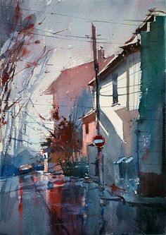 Watercolor Cityscape by Eugen Chisnicean #painting