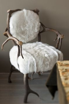 white fur antler chair