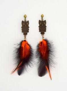 Boucle d'oreille plumes orange et noir ; boucles oreille hibou, boucle d'oreille plumes de fêtes, bijoux soirée, nigth