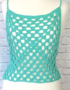 """""""This crochet summer top is so fast and easy to make. It uses only granny squares and granny stitch to make. It is easy enough for beginners. This top can be used as a cover up over a bikini top or a tube top. Diy Crochet Crop Top, Crochet Pants, Crochet Summer Tops, Crochet Halter Tops, Crochet Blouse, Crochet Clothes, Free Crochet, Double Crochet, Single Crochet"""